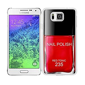"""Funda carcasa para Samsung Galaxy Alpha diseño pintauñas rojo """"Red Tonic"""" 235 borde blanco"""