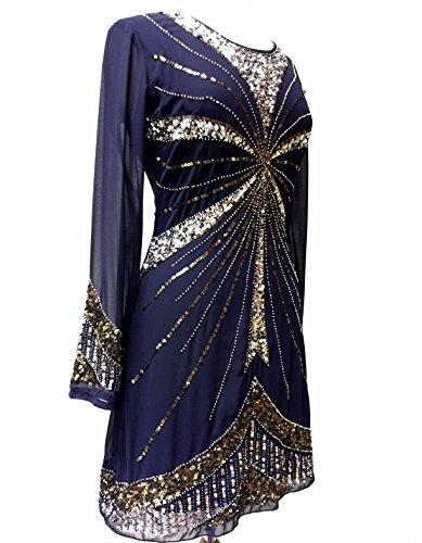 Ladies 1920de estilo vintage Charleston Flapper Gatsby Abbey Fringe con cuentas Lentejuelas Vestido De Cambio Azul