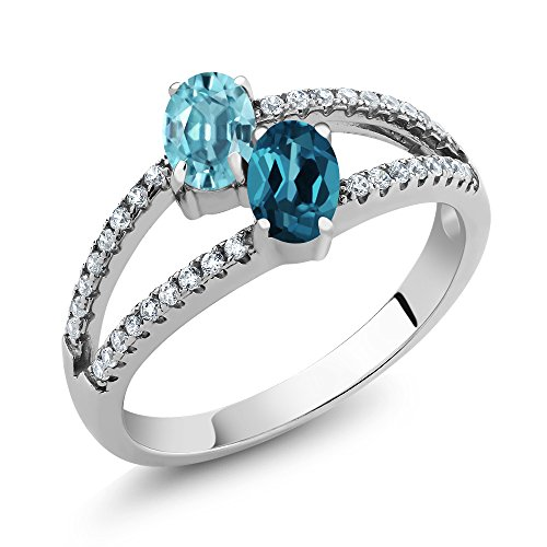 Topaz Zircon Ring (1.66 Ct Oval Blue Zircon London Blue Topaz 925 Sterling Silver Ring ( Available in size 5, 6, 7, 8, 9))