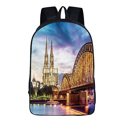 "YEHAITIAN Fashion Personality Practical Backpack Adult Student 16.5"" H × 11.4"" W × 6.3"" T Cityscape,Illuminated Dom in Cologne Old Bridge and Rhine at Sunset European Culture Print,Multi"