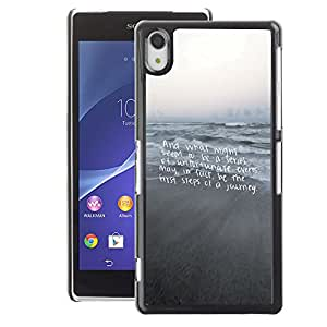 A-type Arte & diseño plástico duro Fundas Cover Cubre Hard Case Cover para Sony Xperia Z2 (Beach Text Motivational Gray Sea)