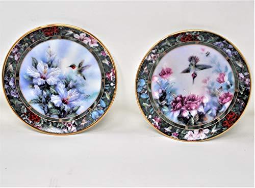 Bradford Lena Liu's Hummingbird Treasury Miniature Plate Collection - Set of 2 Limited Edition 1994 - Ruby-Throated and Anna's ()