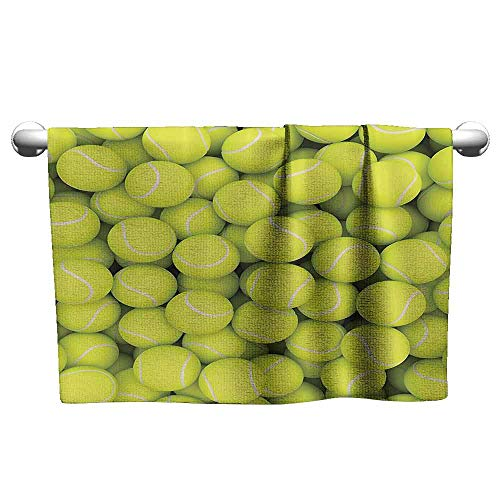 (duommhome Sports Decor Collection Quick Dry Towel Heap of Tennis Balls Hobby Happiness Leisure Competitive Match Lifestyle Picture Pattern W12 x L35 Yellowgreen)