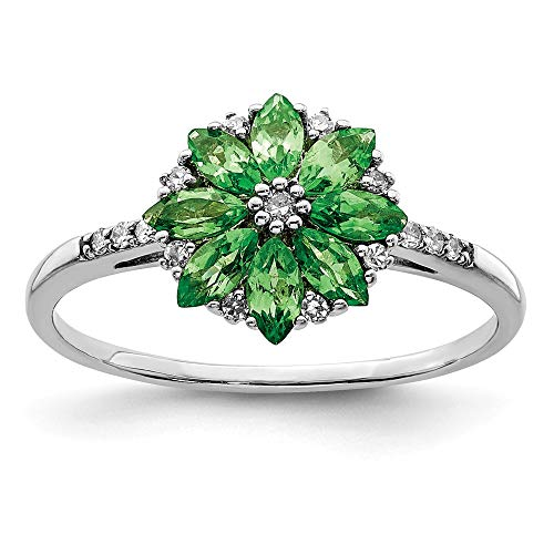 925 Sterling Silver Diamond Tsavorite Red Garnet Band Ring Size 9.00 Flowers/leaf Gemstone Fine Jewelry Gifts For Women For Her