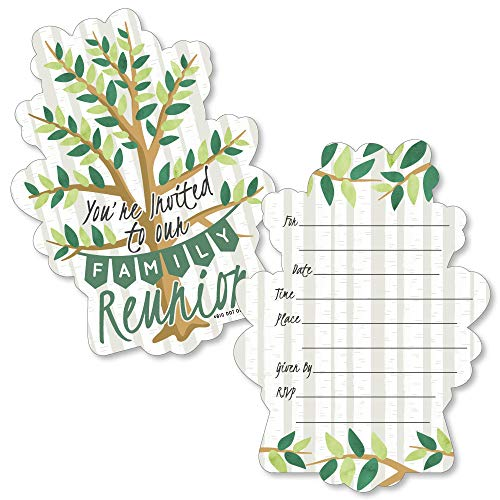 Family Tree Reunion - Shaped Fill-in Invitations - Family Gathering Party Invitation Cards with Envelopes - Set of 12 -