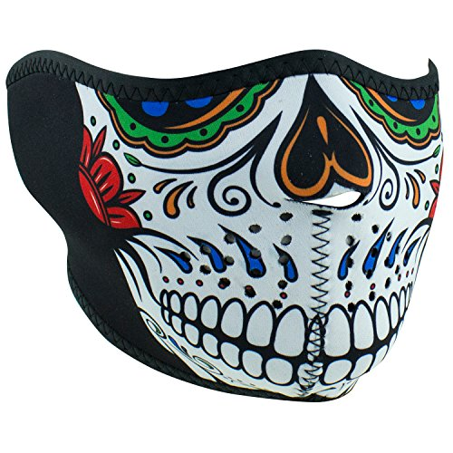 Day Of The Dead Face Mask (Zanheadgear WNFM413H Adult/Unisex Neoprene Muerte Skull Half)