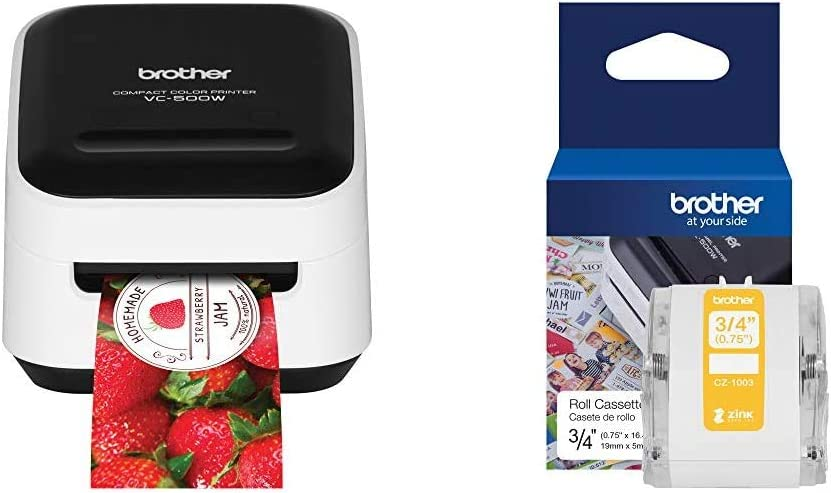 """Brother VC-500W Versatile Compact Color Label and Photo Printer with Wireless Networking & Genuine CZ-1003 Continuous Length ¾"""" (0.75"""") 19 mm Wide x 16.4 ft. (5 m) Long Label roll"""