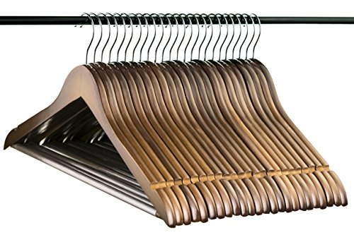 Neaties Light Chocolate Wood Hangers with Notches and Non-Slip Bar, 24pk ()