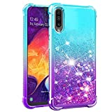 Dzxouui for Galaxy A50 Case,Galaxy A50S/A30S Case,TPU Protective Cover for Girls and Women Glitter Bling Sparkle Cute Phone Case for Samsung Galaxy A50S/A30S/A50(Teal/Purple)