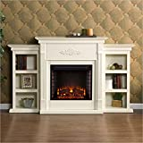 Holly & Martin Southern Enterprises Fredricksburg Electric Fireplace w/Bookcases in Ivory