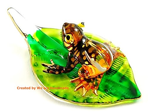 Handmade Mini Orange Frog with Leaf Art Glass Blown Animal Figurine No.1 – Model Y2016