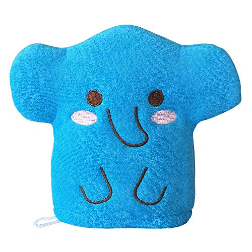 Blue Elephant Baby Bath Glove Hand Puppet Mitt Bath Toys Wash Cloths Scrubber by Furocco Bath Talk