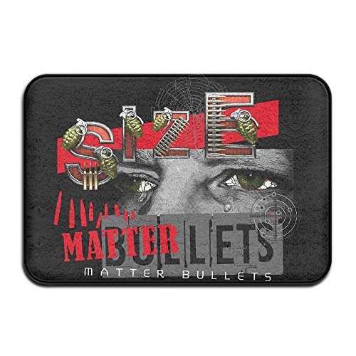 HUYF743 Size Matter Bullets Guns And Ammo Rifleman Cool Doormat Entrance Mat Floor Mat Rug Indoor/Outdoor/Front Door/Bathroom Mats Rubber Non Slip