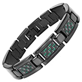 Willis Judd Men's Titanium with Green Carbon Fiber Lightweight Bracelet Adjustable with Gift Box