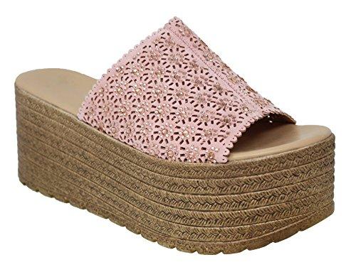 - MVE Shoes Open Toe Flowers Spadrille Platform-Sandals, Pink Size 11