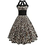 ManxiVoo Women Rockabilly Retro Dress 50s Vintage Party Halter Sleeveless Printed Swing Cocktail Prom Gown (S, Yellow)