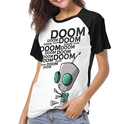 Invader Zim Gir S Doom Women Baseball Short Sleeve Round Neck T Shirt -