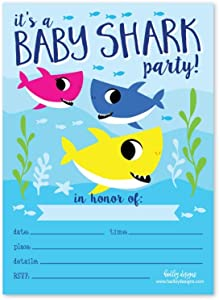 25 Baby Shark Birthday Party Invitations, Pool Beach Water Theme Kid Invite Idea, Summer Fish Boy Girl Swim Event Supply, Children Baby Ocean Blue Sleepover Bday Printed or Fill In the Blank Card Bulk