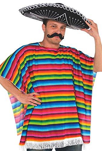 amscan Fiesta Cinco De Mayo Striped Multi Colored Fabric Serape | Party Costume | 6 Ct. (Sunglasses Striped Plastic)