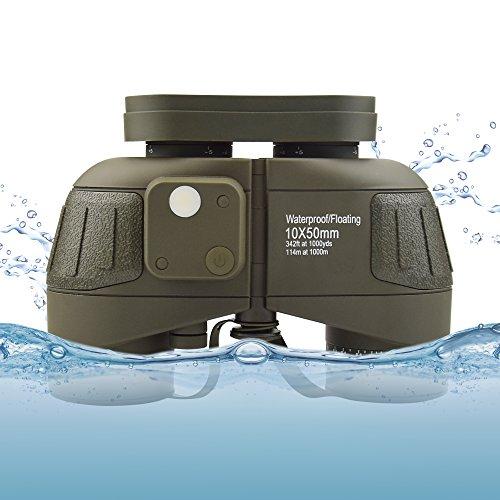 Feyachi 10x50mm Marine Binoculars with Illuminate Compass + Binoculars Strap +Storage Bag for Hiking Camping Boating Army ()