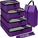 Bagail 6 Set Packing Cubes,Travel Luggage Packing Organizers with Laundry Bag Purple
