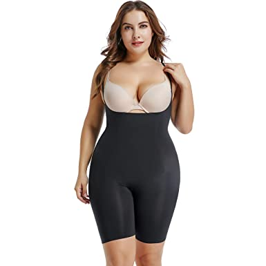 41c099e222f1d Shapewear for Women Tummy Control Full Body Shaper Open Crotch Bust Slimmer  Seamless Bodysuit Black
