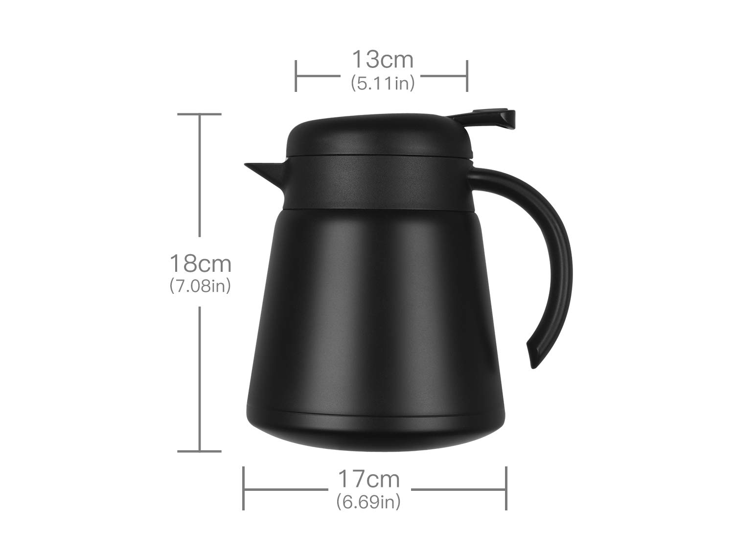Luvan 304 18/10 Stainless Steel Thermal Carafe/Double Walled Vacuum Insulated Coffee Pot with Press Button Top,24+ Hrs Heat&Cold Retention,BPA Free,for Coffee,Tea,Beverage etc (Black, 27 OZ) by Luvan (Image #7)