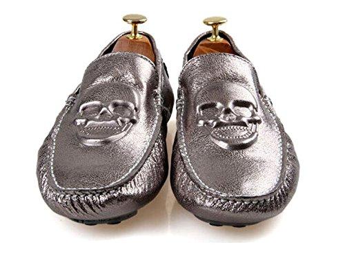 Happyshop (tm) Mens Schedel Leer Slip Op Instappers Plat Heren Rijden Auto Schoenen Mapable Sneakers Pistool Kleur (grote Schedel)