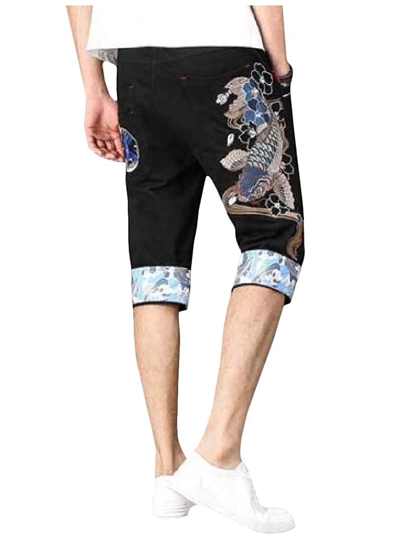 Wofupowga Mens Retro Printed Chinese Style Embroidery Capri Short