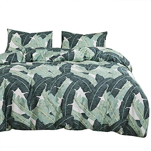 Wake In Cloud - Tropical Leaves Comforter Set, 100% Cotton Fabric with Soft Microfiber Fill Bedding, Banana Tree Pattern Printed in Green (3pcs, Queen Size)
