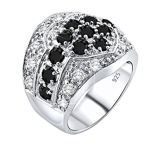 Diamond Ring Thick Design (Mother's Day Gift Women's Sterling Silver .925 Heart Flower Ring 30 Black and White CZ Stones, Platinum Plated Jewelry)