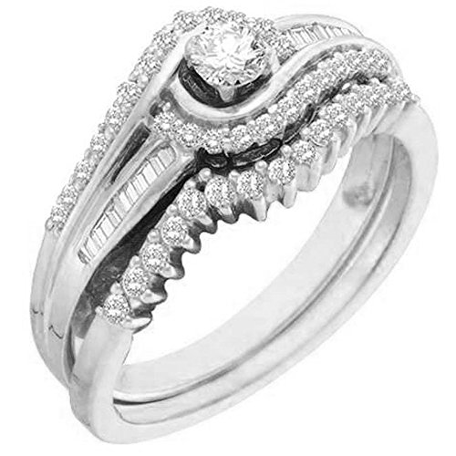 Set Baguette Diamond Wedding Band - Dazzlingrock Collection 0.40 Carat (ctw) 14K White Gold Round & Baguette White Diamond Engagement Ring Band Set (Size 10)