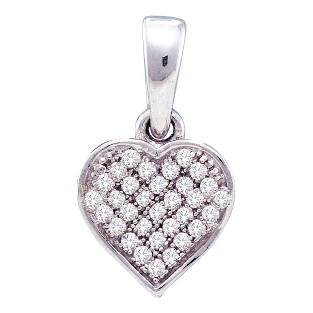 Sterling Silver Womens Round Diamond Small Heart Cluster Pendant 1 10 Cttw