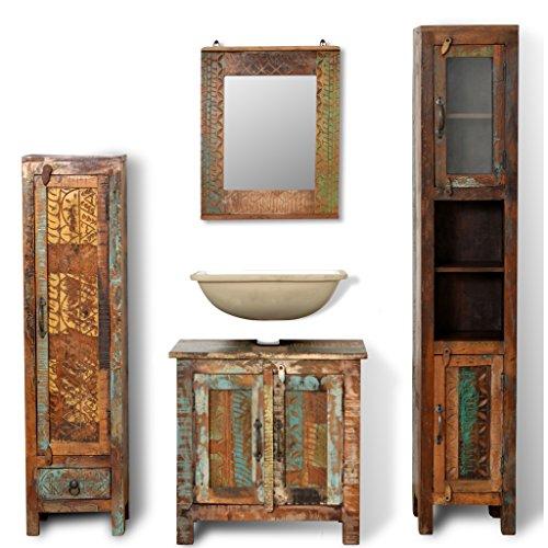 Reclaimed Wood Vanity (SKB Family Reclaimed Solid Wood Vanity Cabinet Set with Mirror & 2 Side)