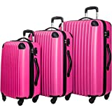 Travelhouse 3 Piece Spinner Luggage Set with TSA Lock (Rose & Black)