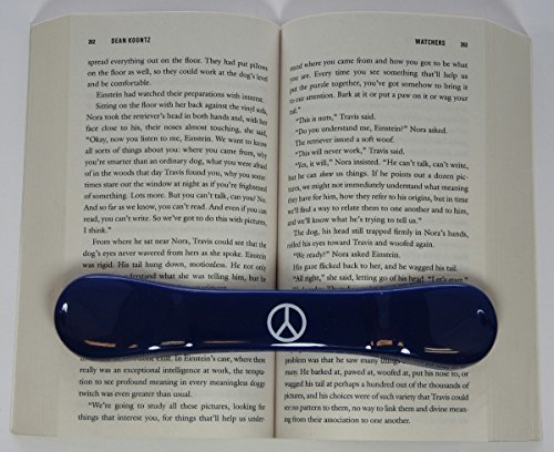 BookBone - Made in the USA - The ORIGINAL Weighted Rubber Bookmark - PRINTED WITH - Peace Sign - HOLDS BOOKS OPEN from BookBone