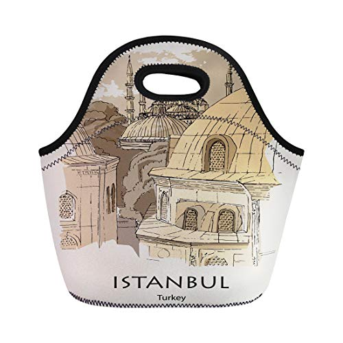 Istanbul Turkey Food - Tinmun Lunch Tote Bag Istanbul Turkey View From Hagia Sophia to the Blue Reusable Neoprene Bags Insulated Thermal Picnic Handbag for Women Men