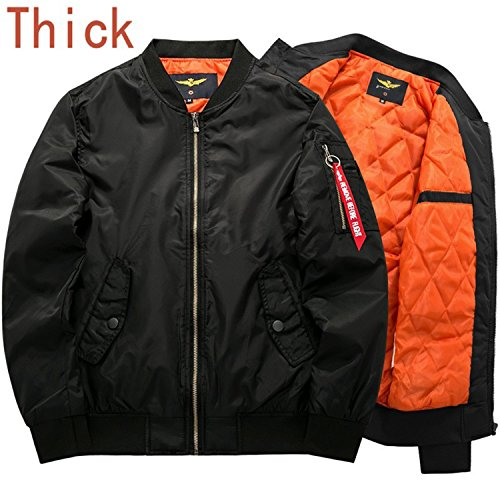 Marvin Cook Bomber Jacket Men's Thick Warm Autumn Winter Military Motorcycle Jackets Flight Pilot Air Force Coat thick black 6XL