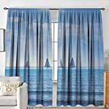 NUOMANAN Blackout Curtains for Bedroom Nautical,Racing Yachts on Ocean Water Regatta Race Panoramic Distant View Relax Win Photo,Light Blue,Darkening and Thermal Insulating Draperies 54'x84'