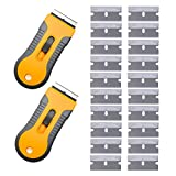 EEFUN Plastic Retractable Razor Blade Scraper for Removing Vinyl Glue, Glass Adhesive and Film Glue -2pcs Retractable Scraper and 20pcs Razor Blades