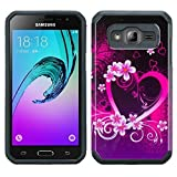 Galaxy Amp Prime case Express Prime Case J3 case (2016) [ShockProof] Dual Layer [DropProtection] Fusion Case (Fusion Heart Flora)