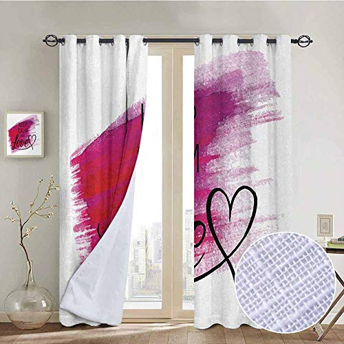 NUOMANAN Decor Curtains by Keep Calm,Love Theme with Hand Drawn Watercolor Stain Brush Stroke and a Heart,Scarlet Fuchsia Black,Wide Blackout Curtains, Keep Warm Draperies,1 Pair 54