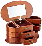 MusicBox Kingdom 16055 Wooden Ballerina Musical Jewelry Box, Playing ''Bolero''
