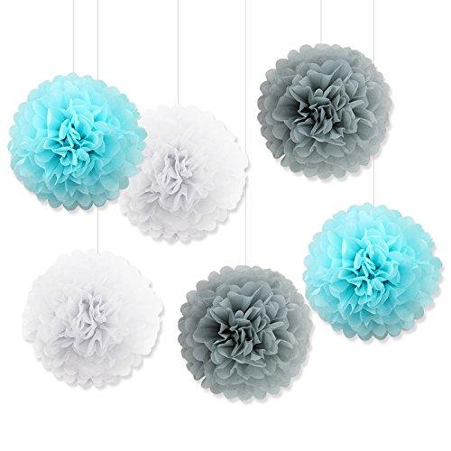 Set of 6Pcs 10inch Hanging Tissue Paper Pom poms White Grey light Blue Flowers Balls Wedding Birthday Celebration Outdoor Indoor (Light Blue Pom Pom)