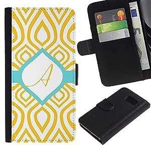 All Phone Most Case / Oferta Especial Cáscara Funda de cuero Monedero Cubierta de proteccion Caso / Wallet Case for Sony Xperia Z3 Compact // A Initial Teal Green Gold Pattern