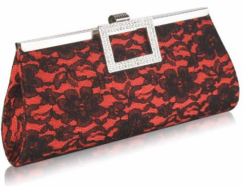 Handbag Red 1 Floral Satin Designer With Clutch Bag Diamante Design Long Party Ladies Lace Chain Womens CXqZUx6wq