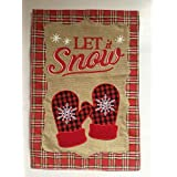 Lantern Hill Let It Snow Plaid Mittens Burlap Garden Flag; Double Sided; 12.5 x 18 inches; Winter Seasonal Decorative Banner