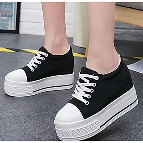 TTSHOES Basket Printemps Bout Confort Blanc Femme US8 UK6 EU39 CN39 Toile Rond Black Noir Chaussures Creepers 1q1Xr