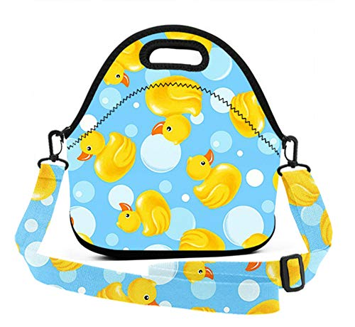 ART TANG Neoprene Lunch Tote - Yellow Duck Waterproof Reusable Lunch Box for Men Women Adults Students Kids Toddler Nurses with snjustable Shoulder Strap - Best Travel Bag]()