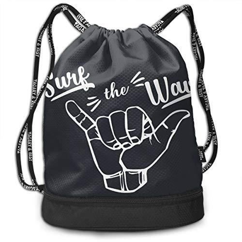 HESLOM MOO Surfing Girl Hawaii Drawstring Backpack Bag, Lightweight Drawstring Sack Cinch Backpack Sports Gym Swim Yoga Beach Bag for Men Women